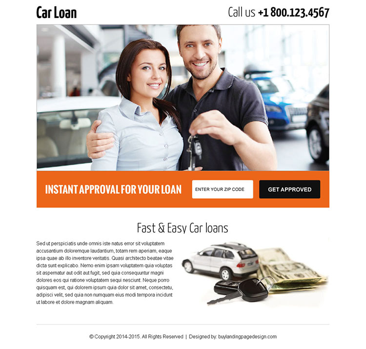 get car loan by zip code search landing page design