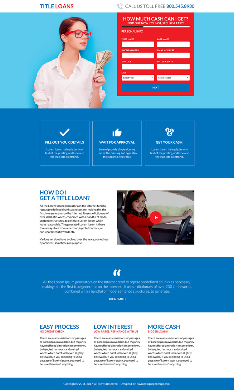 simple title loan lead capturing landing page design