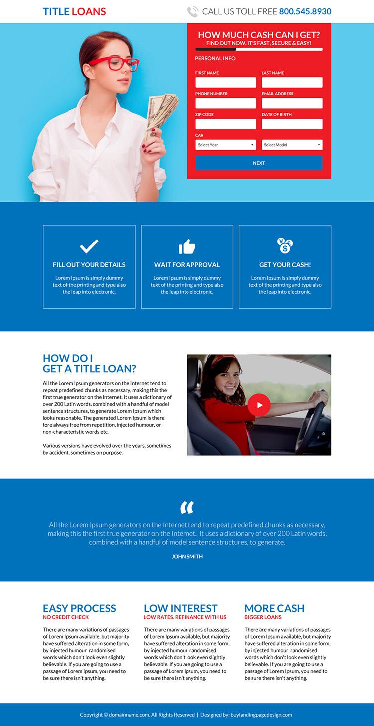 car title loans online responsive landing page design