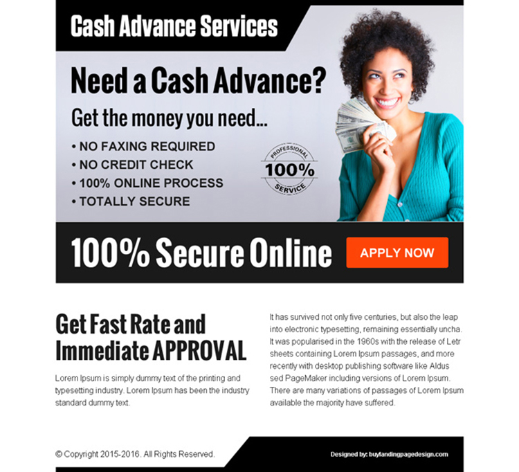 get cash in advance service call to action ppv landing page design template