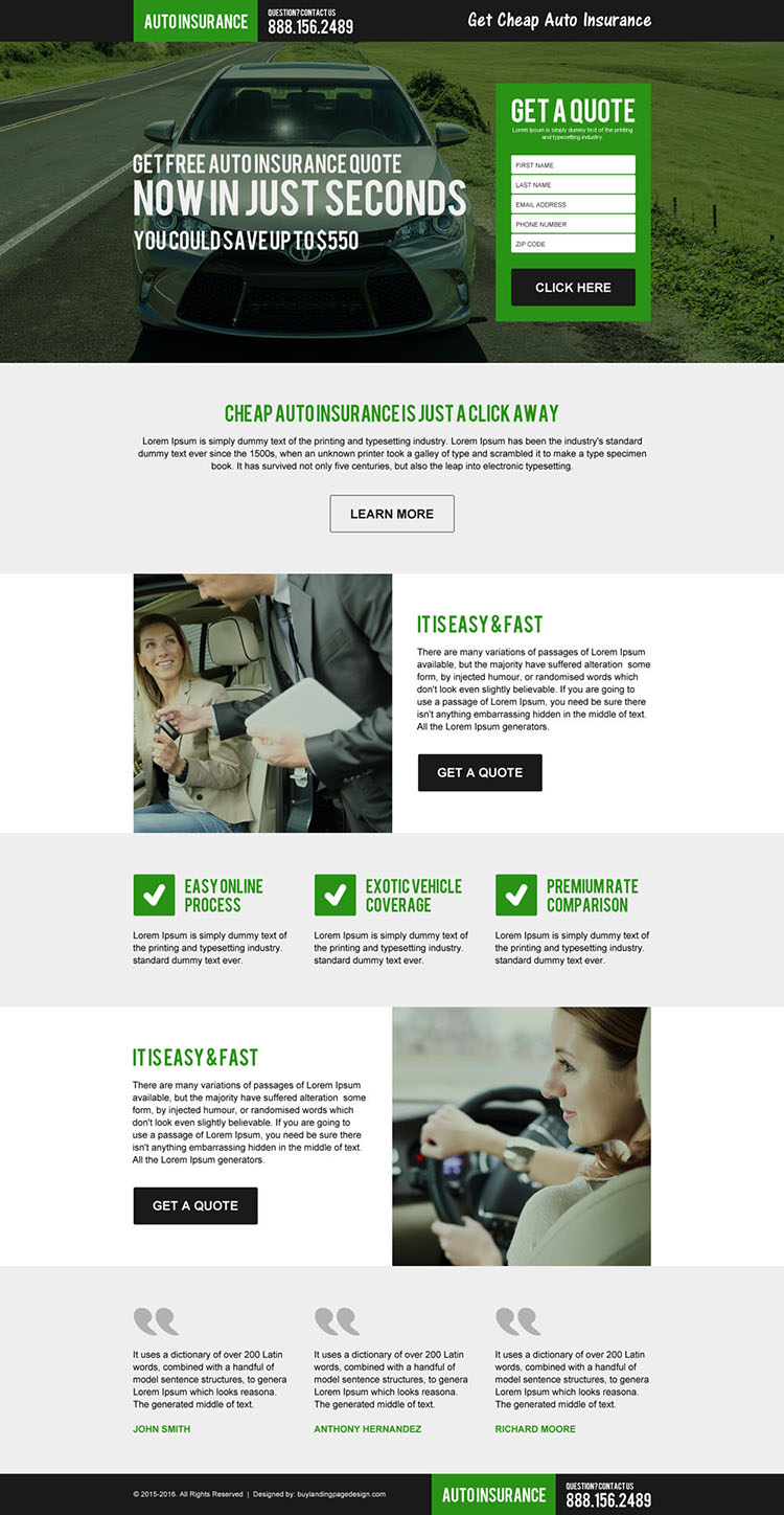 get cheap auto insurance free quote landing page
