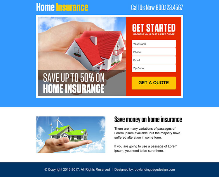 lead capturing home insurance professional ppv landing page