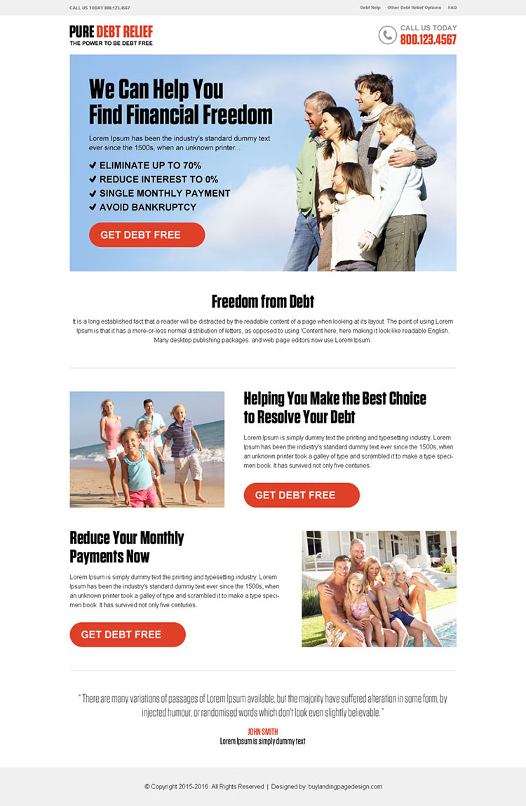 debt free pay per click responsive landing page design