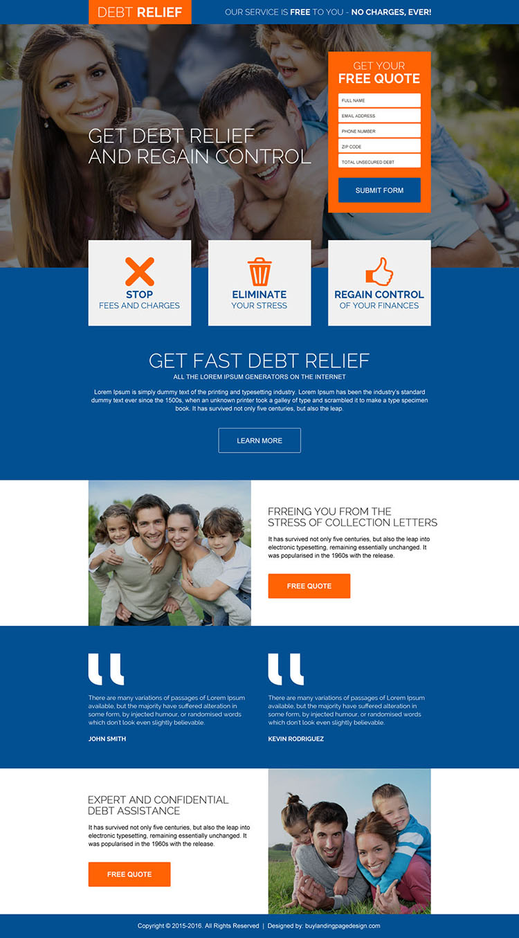 fast debt relief free quote responsive landing page design