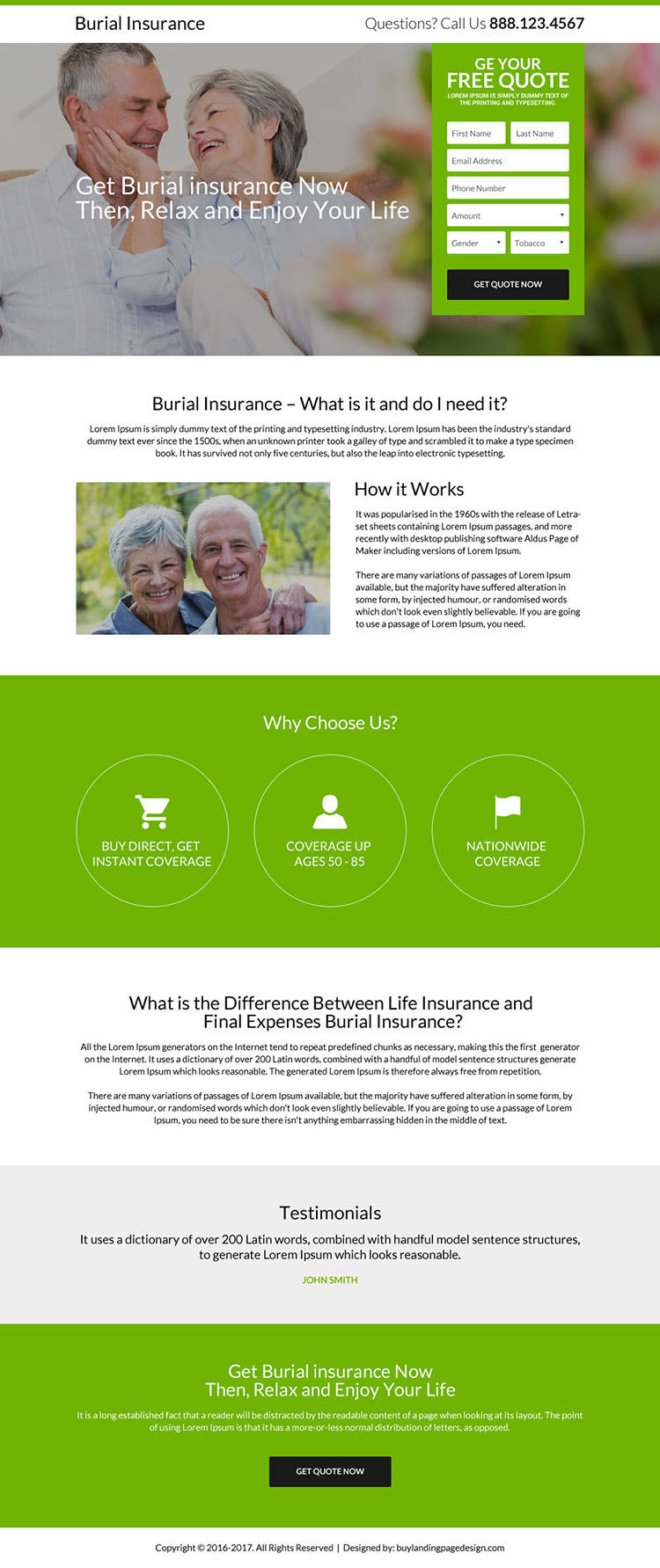 clean email capturing burial insurance landing page design