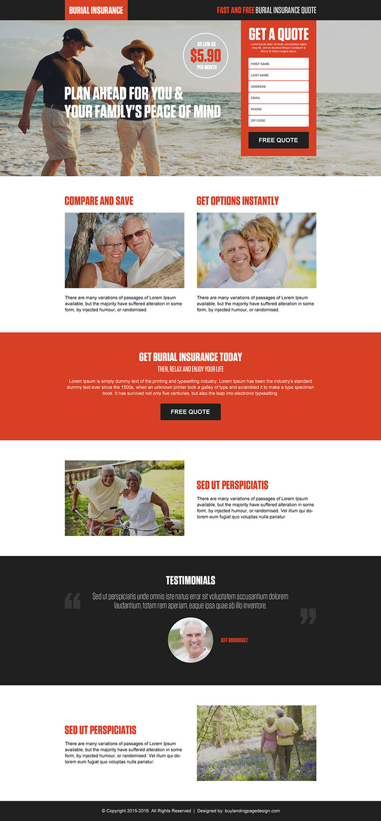 burial insurance get a free quote lead capture landing page