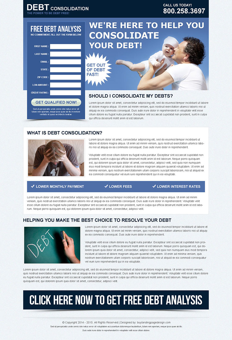 consolidate your debt free analysis lead capture landing page