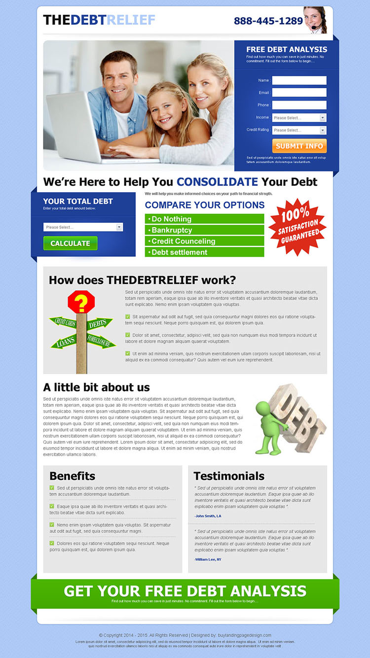 the debt relief clean and converting lead capture landing page design template
