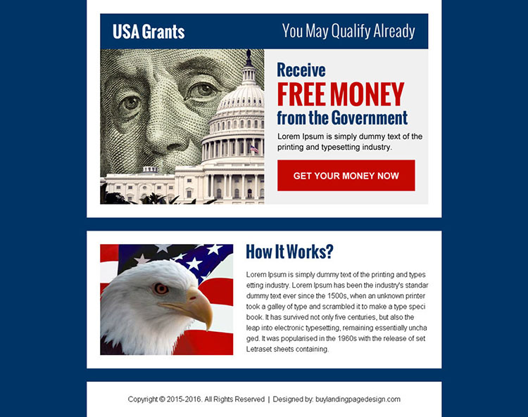 get free grants money in usa ppv landing page design