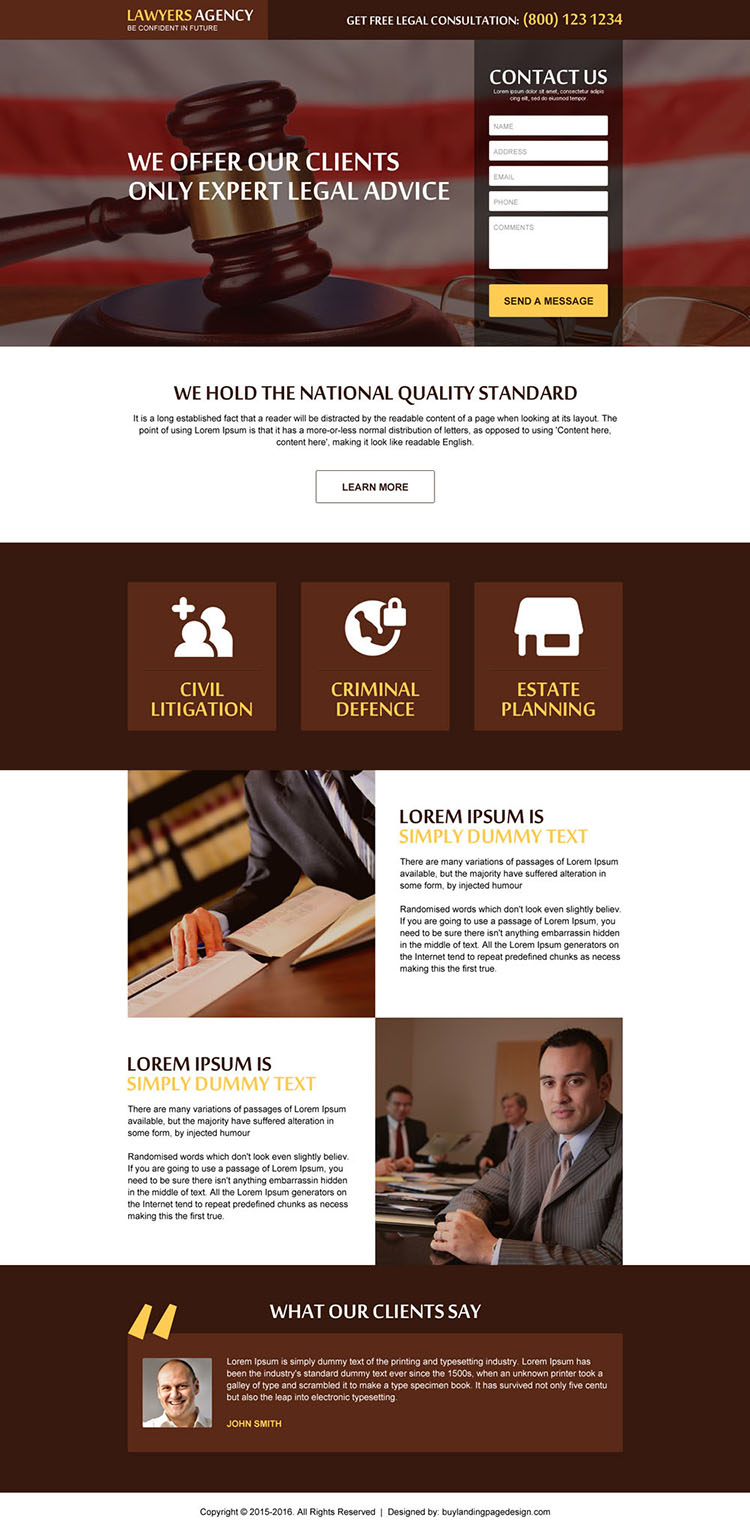 get free legal advice contact lead generating law landing page design