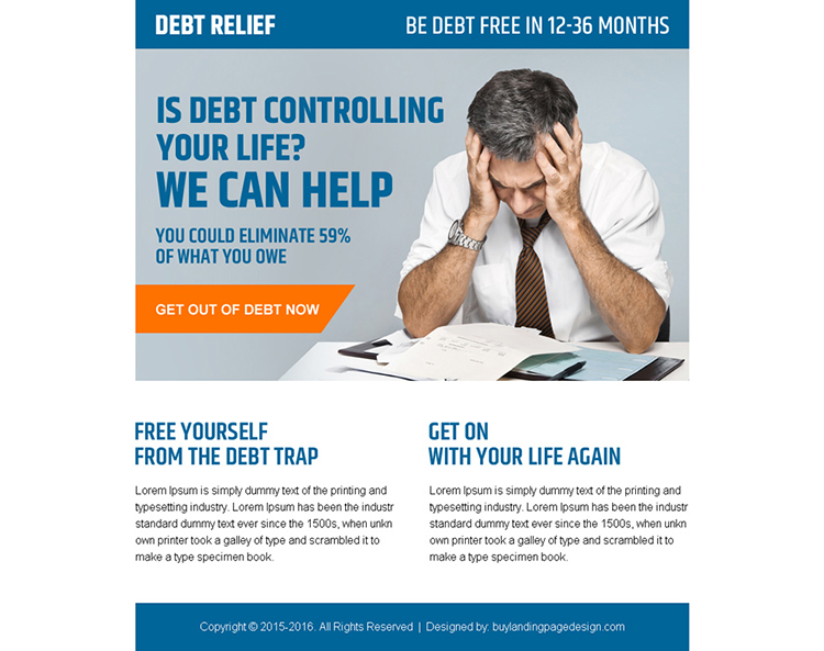 get help in debt controlling call to action ppv landing page design