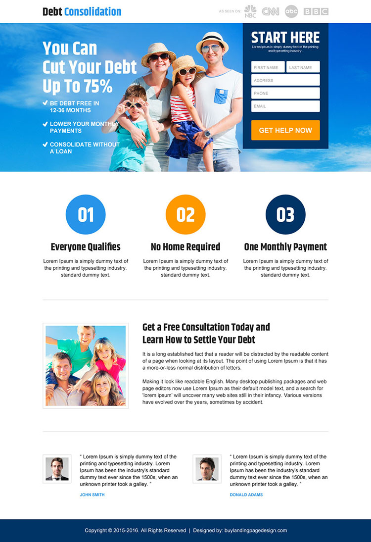 responsive debt consolidation landing page design