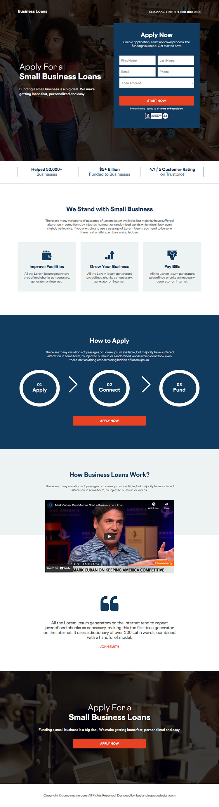 small business loan online application responsive landing page design