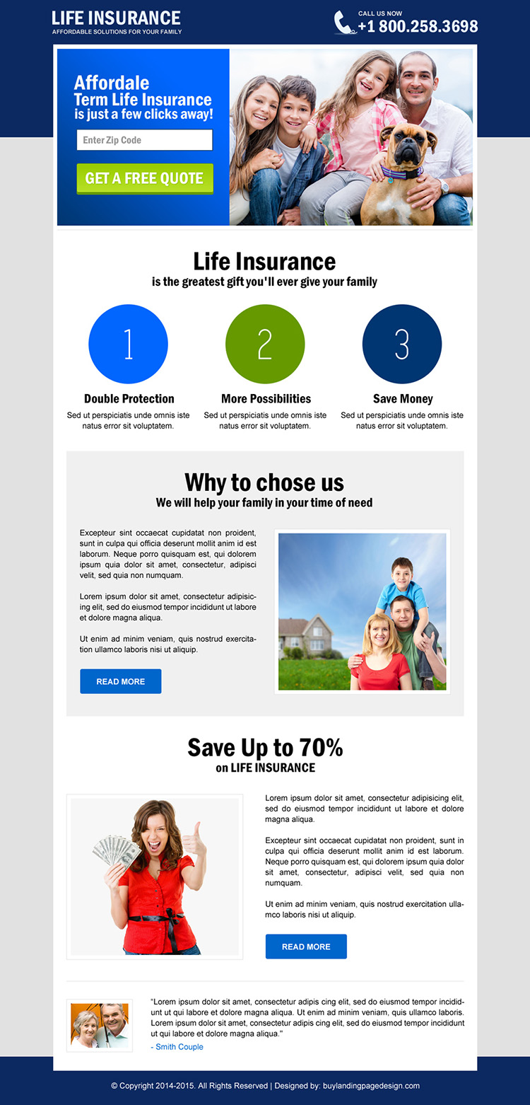 life insurance free quote landing page design
