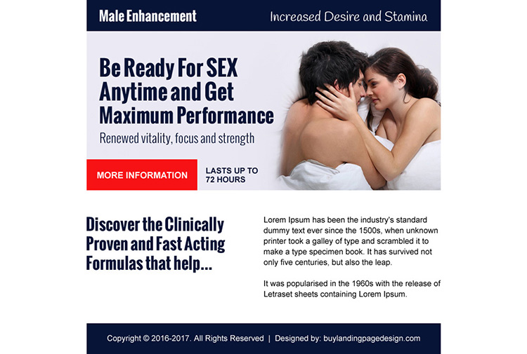 eye catching male enhancement ppv landing page design
