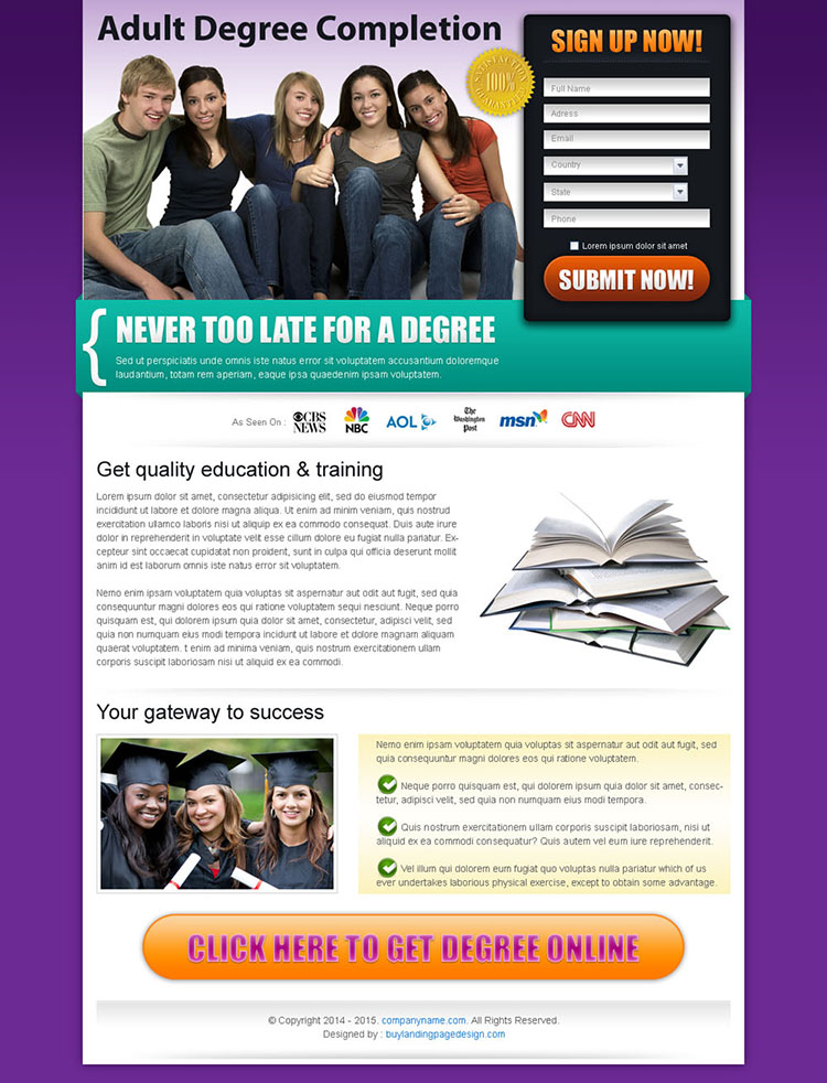 degree completion education effective and converting landing page