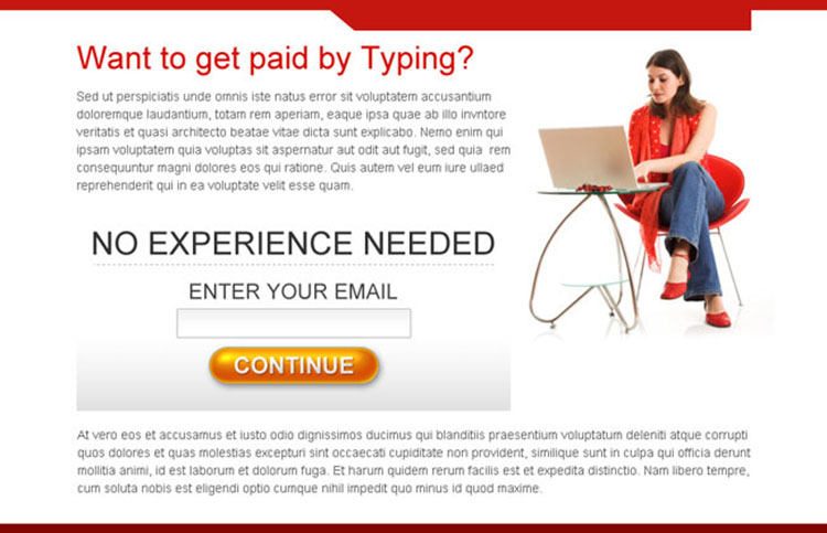 work from home clean and attractive lead capture ppv landing page design