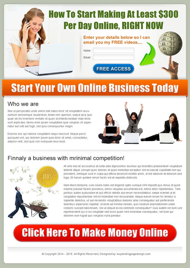 get paid money online converting landing page design for sale