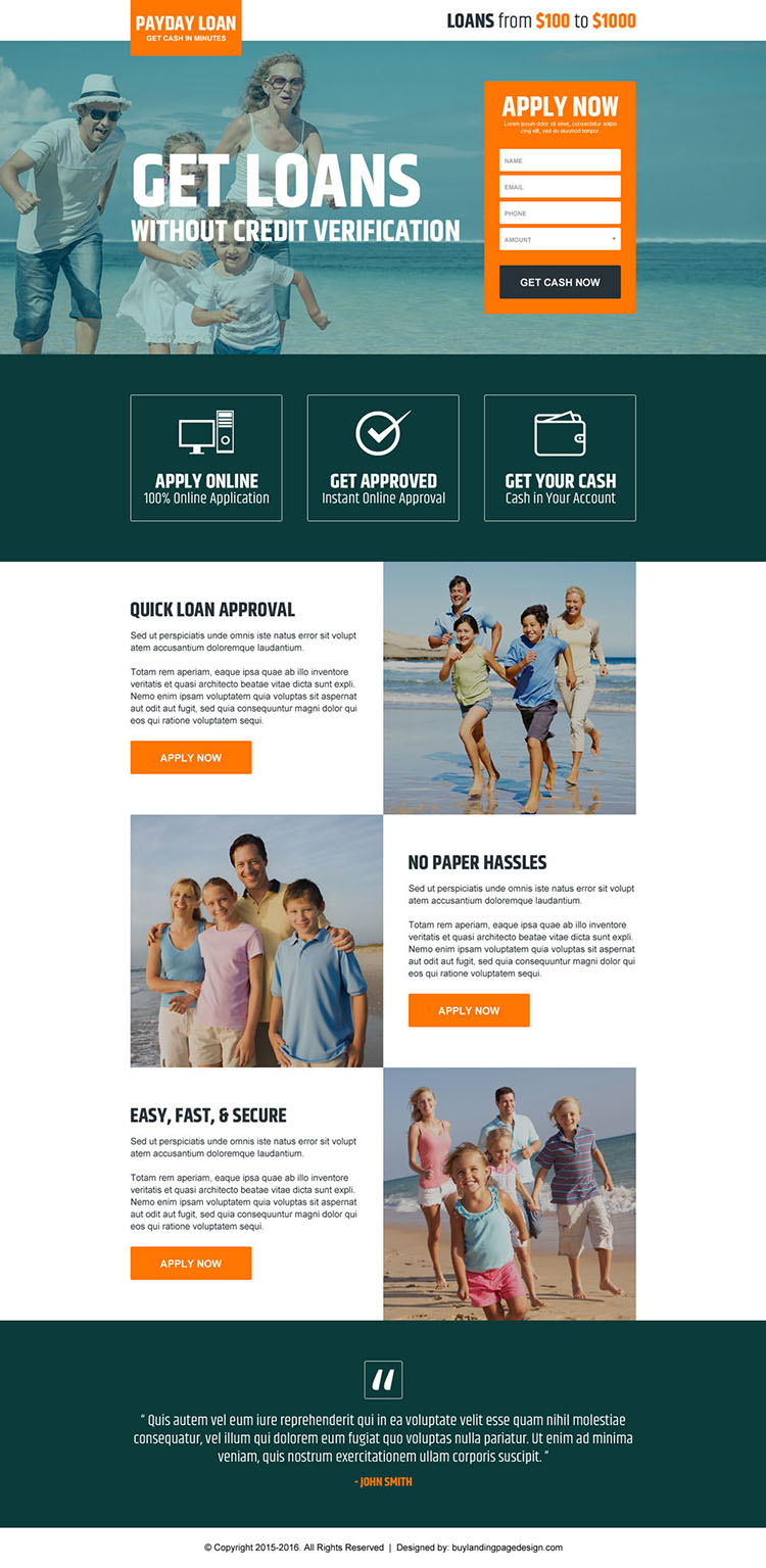 get payday loan without credit verification modern landing page design