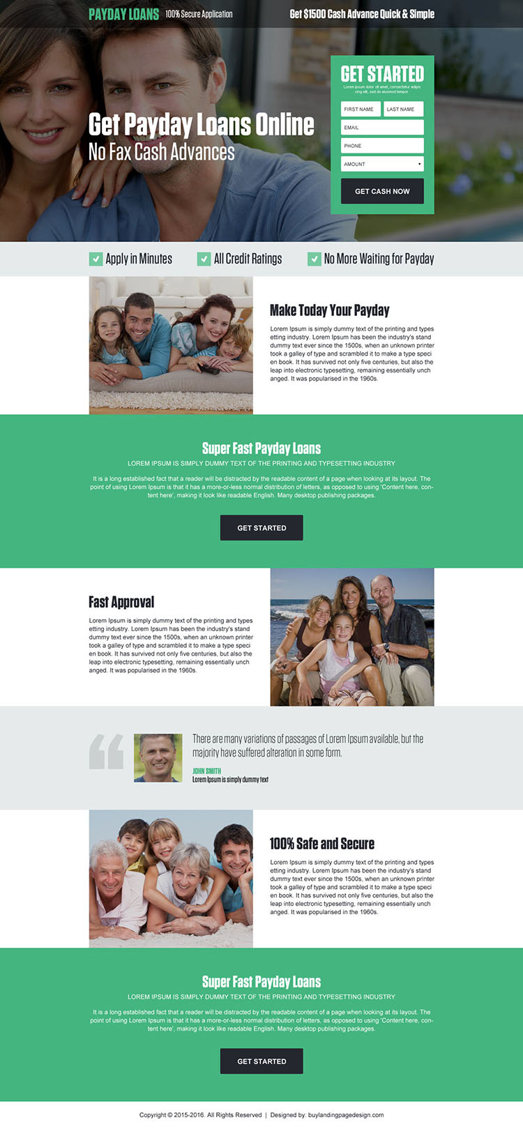 get payday loan online lead generating landing page design