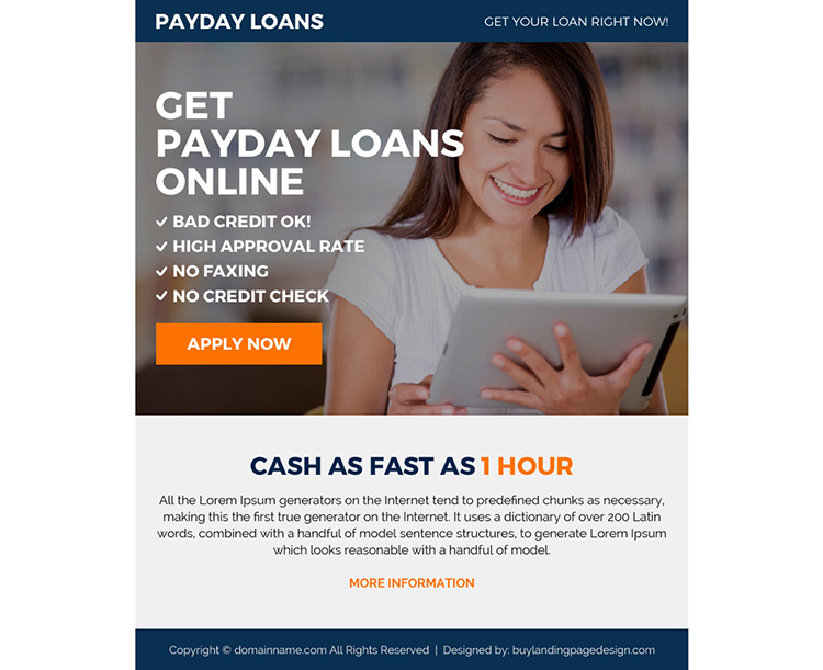 payday loan online ppv landing page design