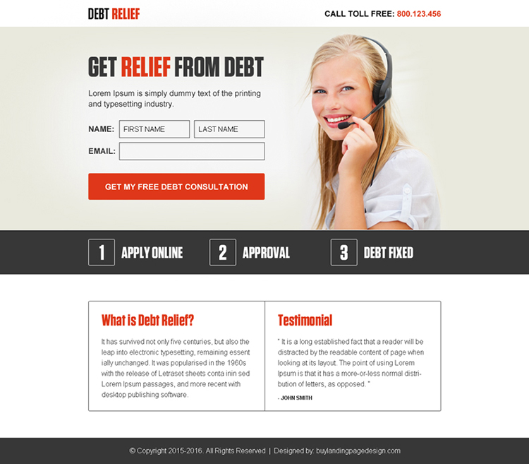get relief from debt lead gen ppv landing page design