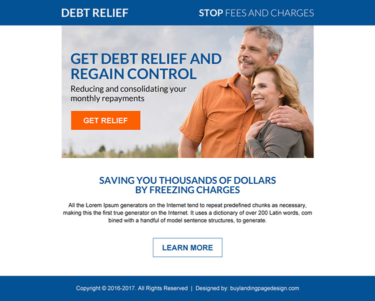 debt relief consolidation ppv landing page design