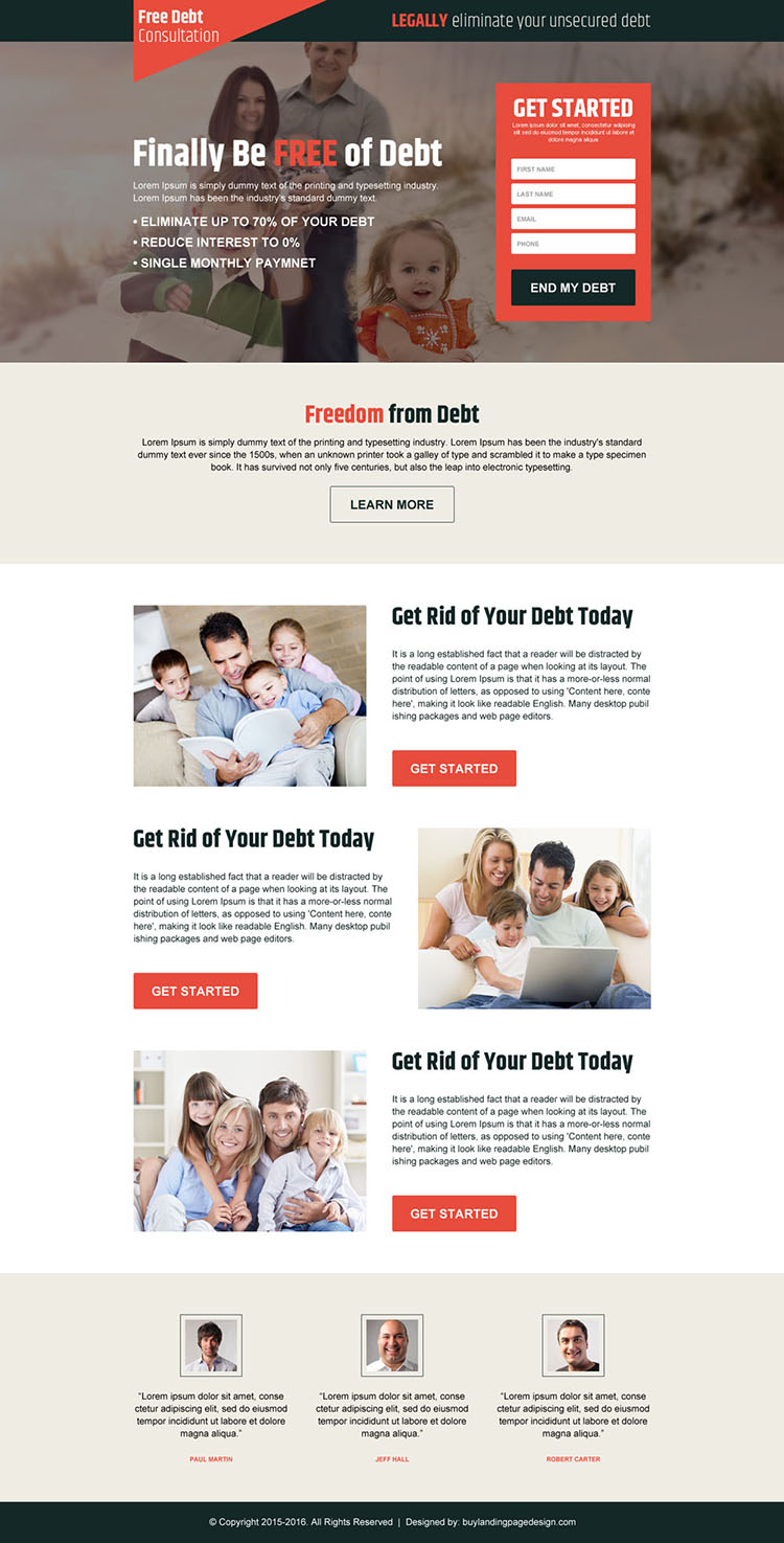 free debt consultation simple lead capture landing page design