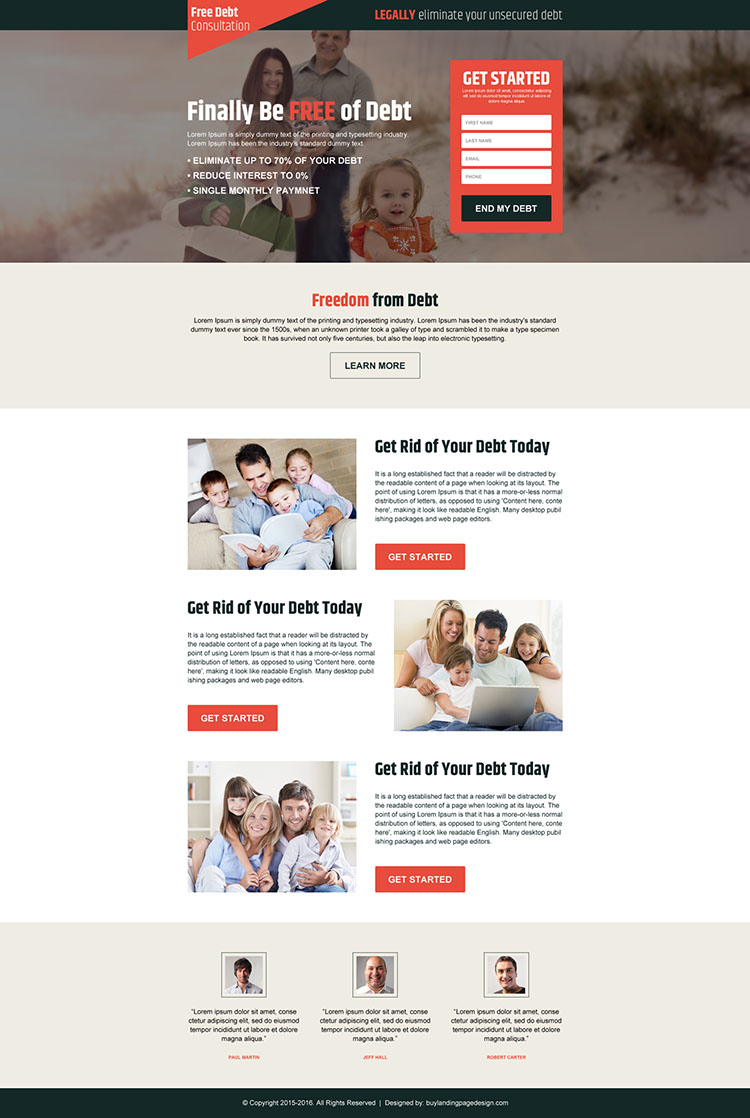 responsive debt free lead gen landing page design