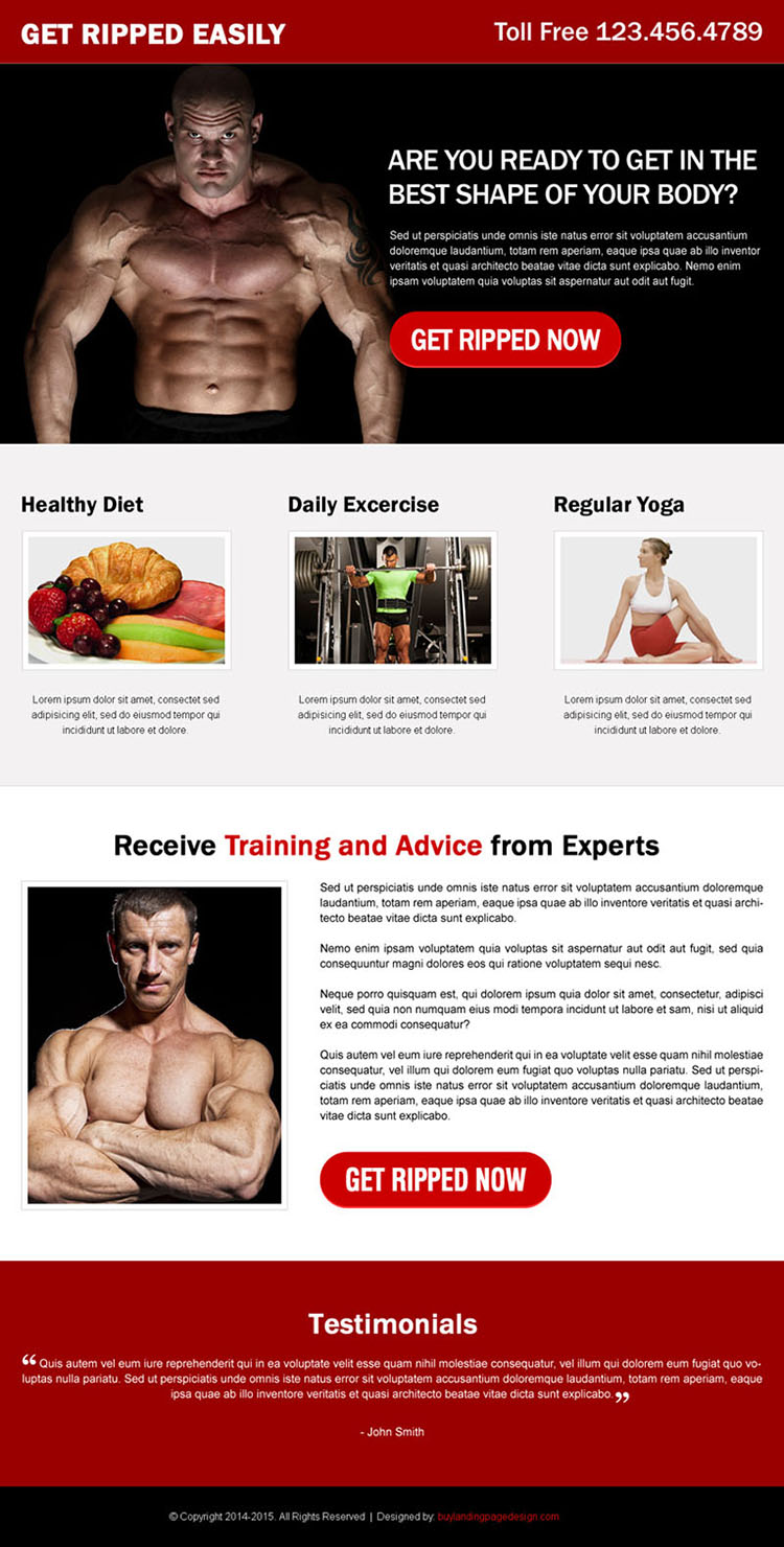 get in the best shape of your body with expertise training and healthy diet call to action landing page