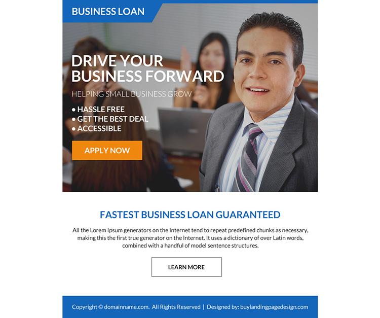 fastest business loan online application ppv landing page design
