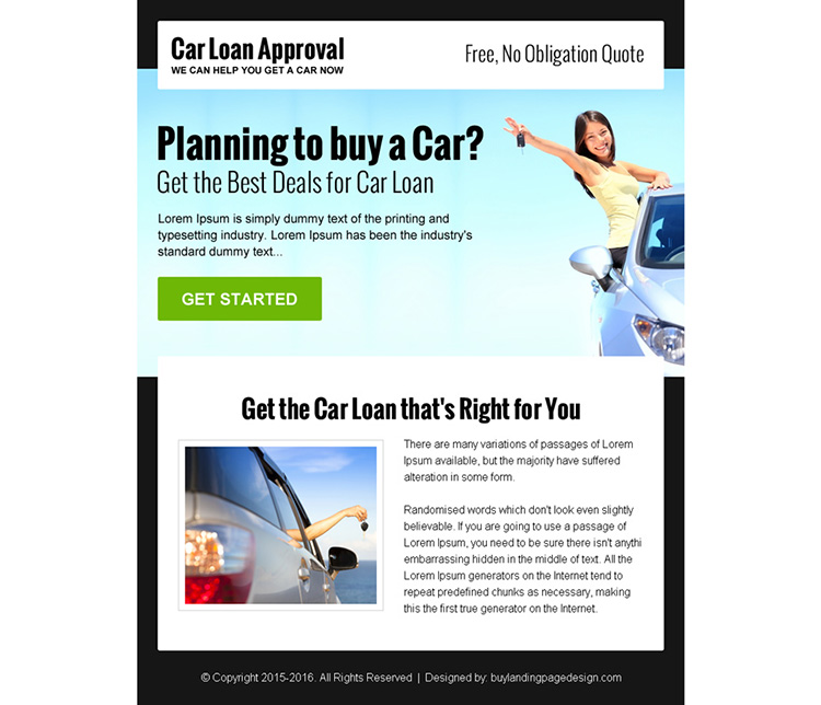 get the best deals for car loan ppv landing page design
