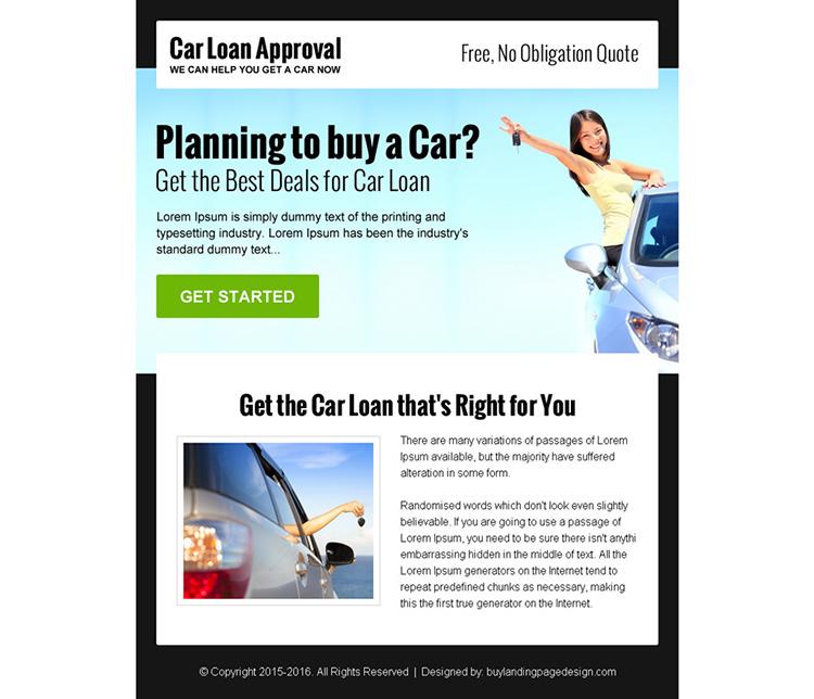 get the best deals for car loan ppv landing page design