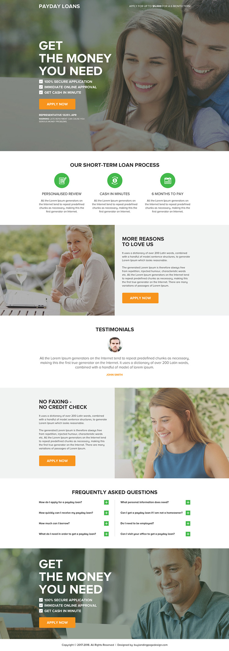 professional payday loan click through landing page design
