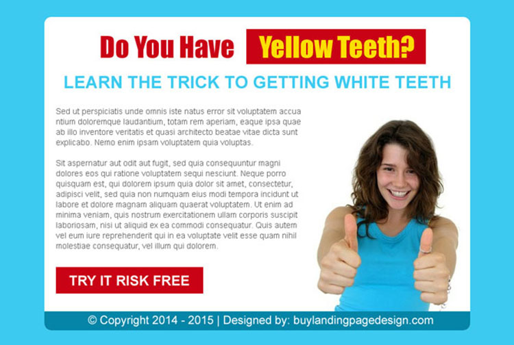 trick to getting white teeth risk free trial call to action ppv lander design
