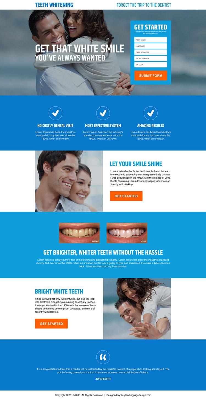 responsive teeth whitening modern lead gen landing page