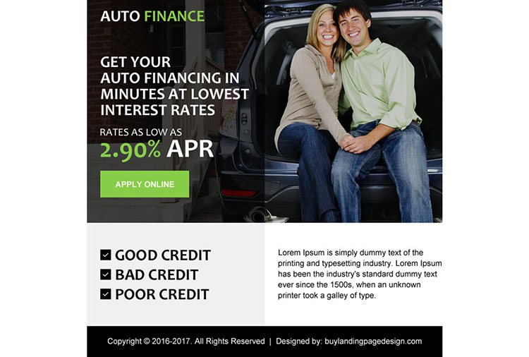 simple auto finance ppv landing page design