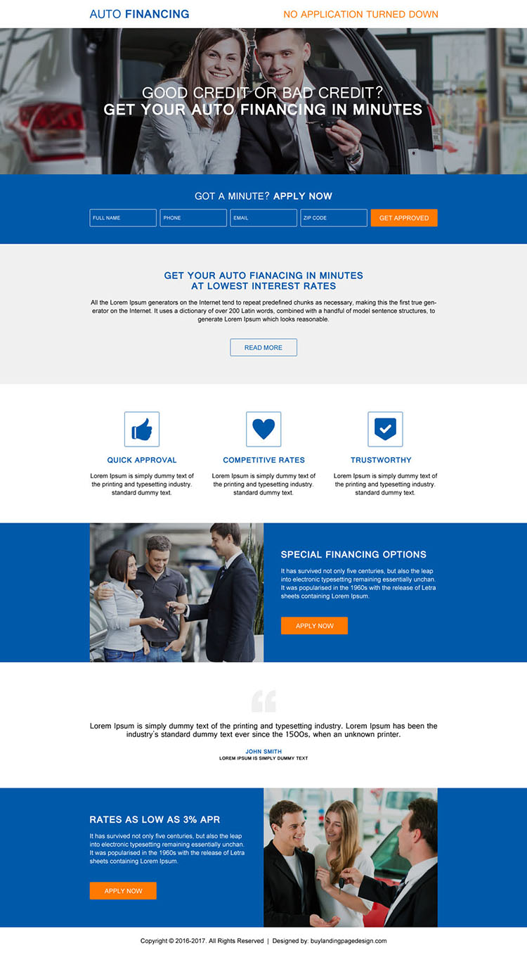 modern auto financing lead generating landing page design