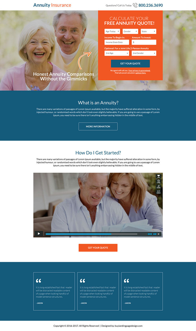 free annuity insurance quote lead capturing landing page design