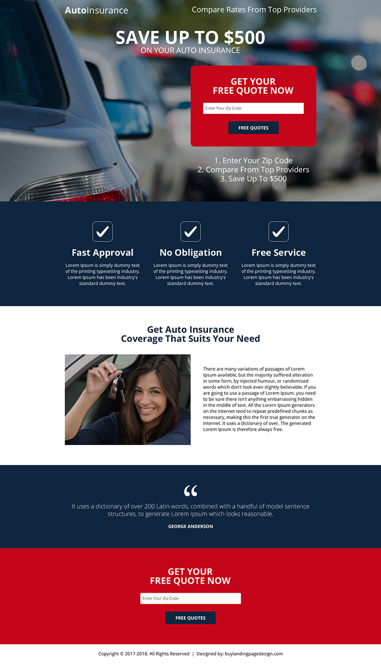 free auto insurance appealing landing page design