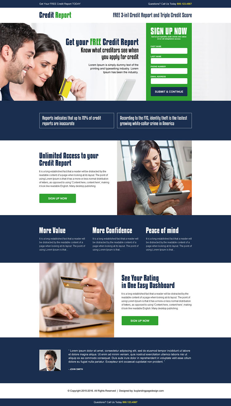 get your free credit report score responsive landing page design