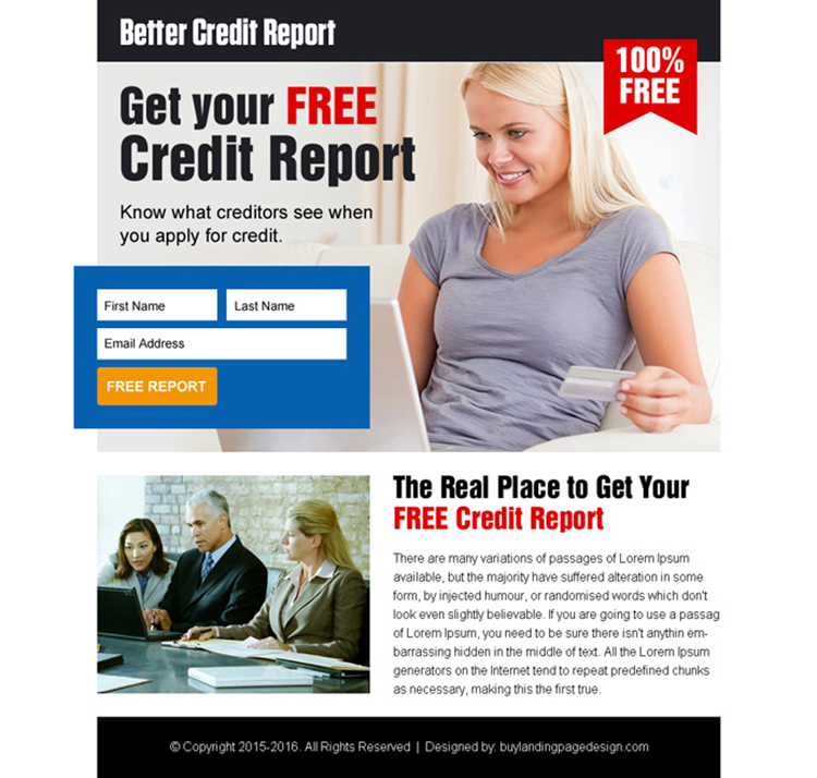 get your free credit report lead gen ppv landing page design