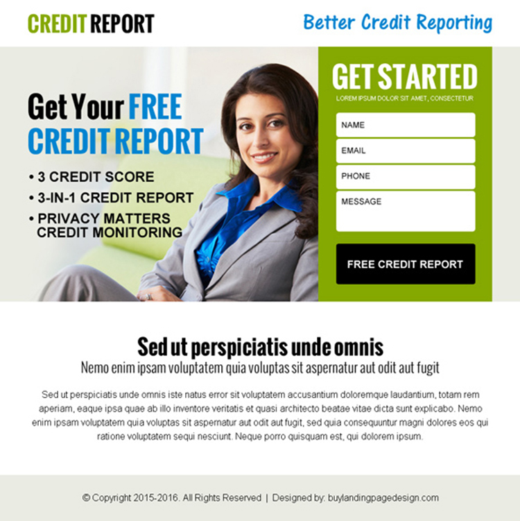 get your free credit report lead capture ppv landing page design
