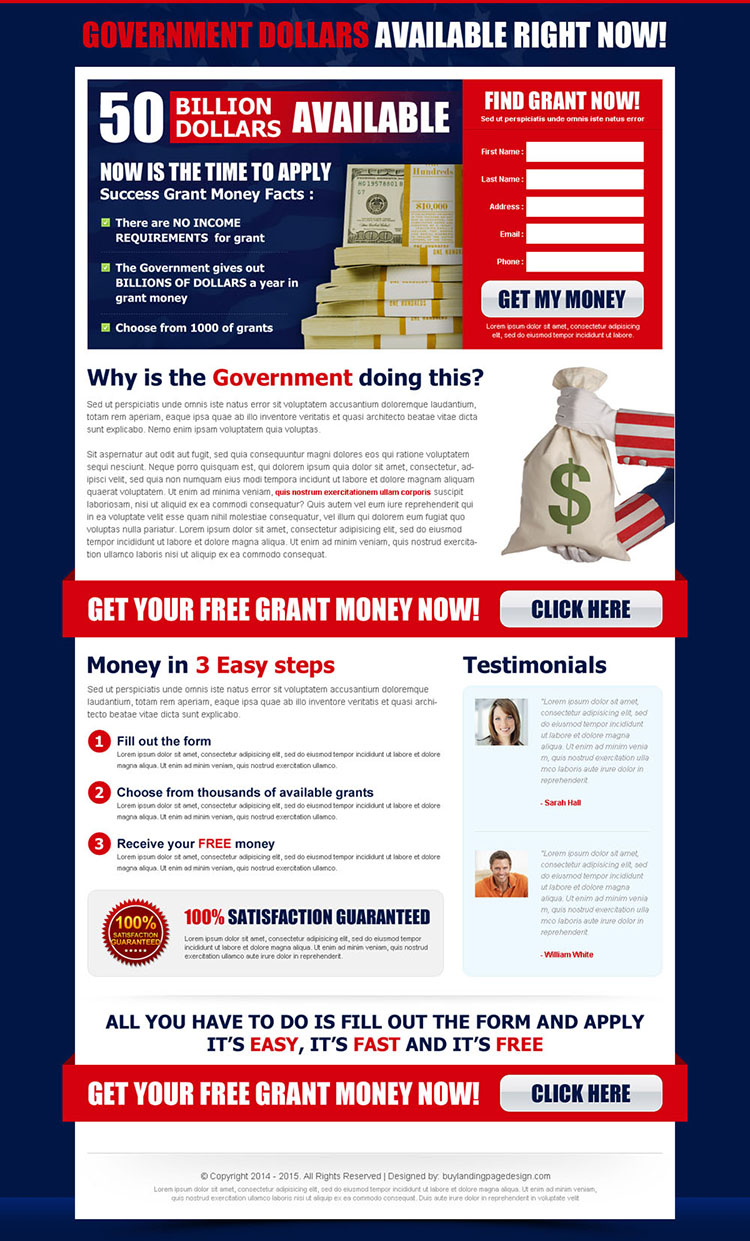 find government grant now most converting lead capture squeeze page design