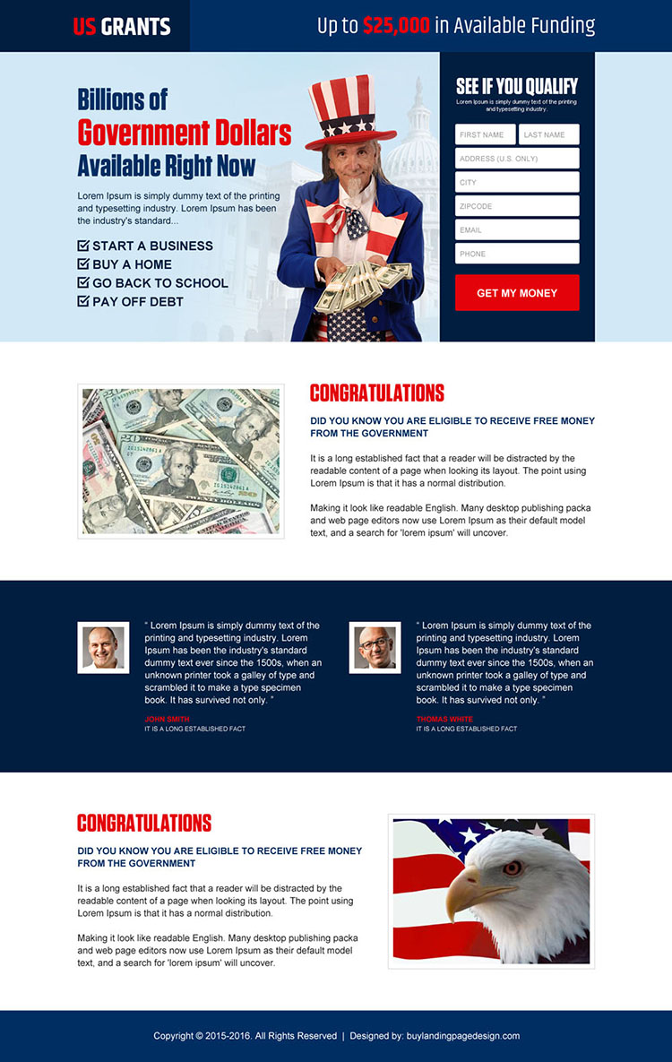get your government grants money lead gen landing page