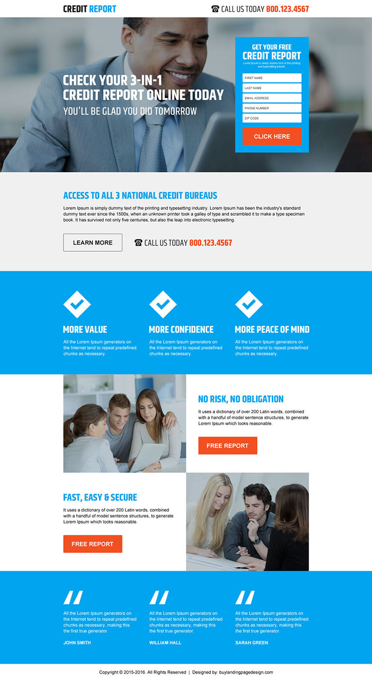 free credit score rating lead form landing page design