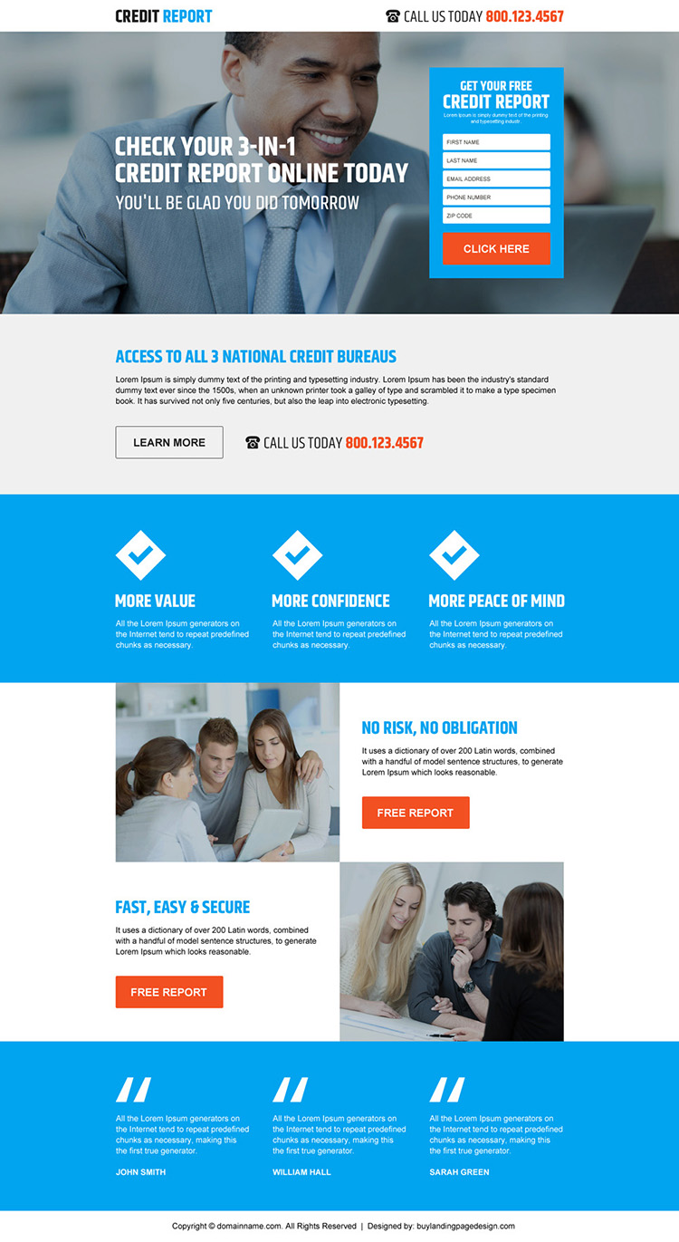 responsive credit report lead generating landing page