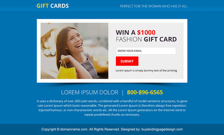 gift card email capturing PPV design