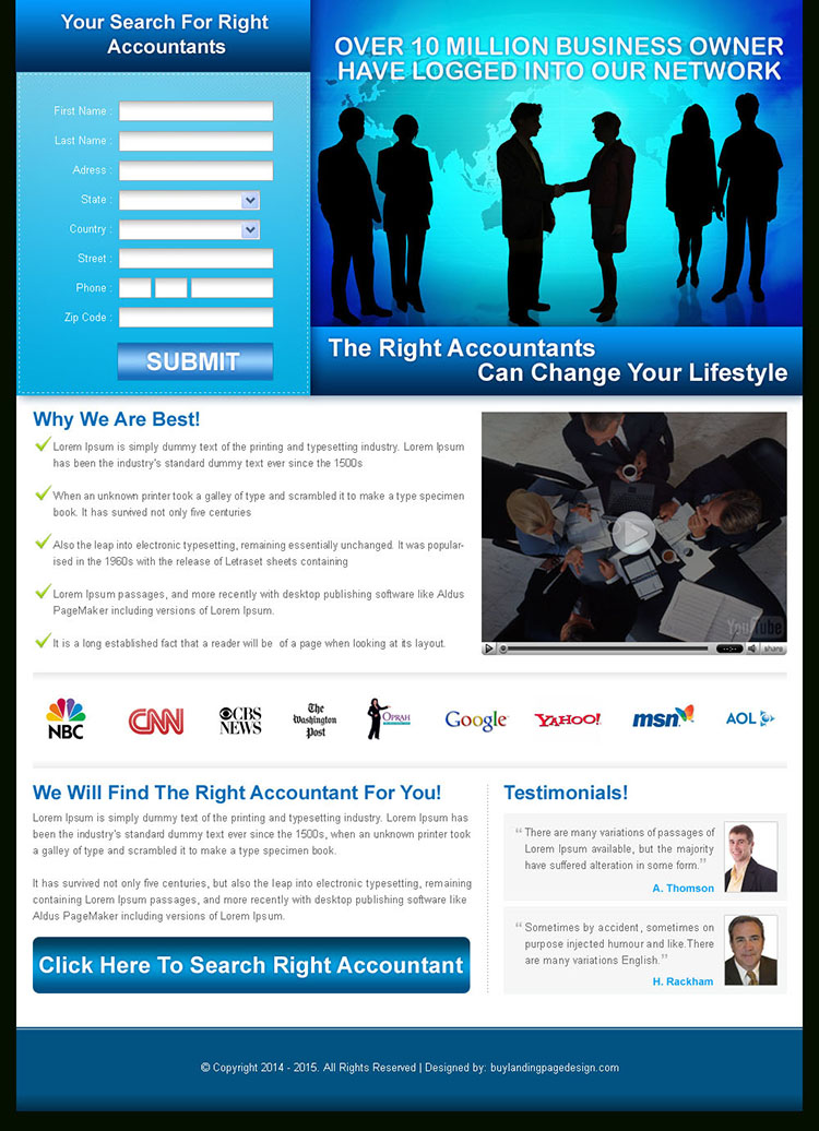 global business lead capture landing page design for sale