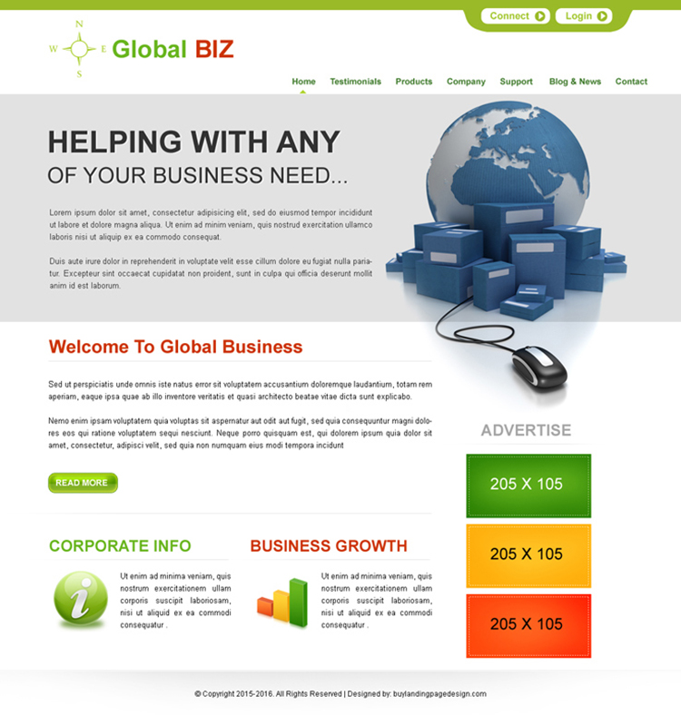global business opportunity clean website template psd for sale